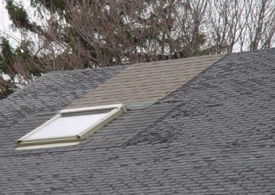 Instead of replacing the entire roof, they only replaced around the skylight